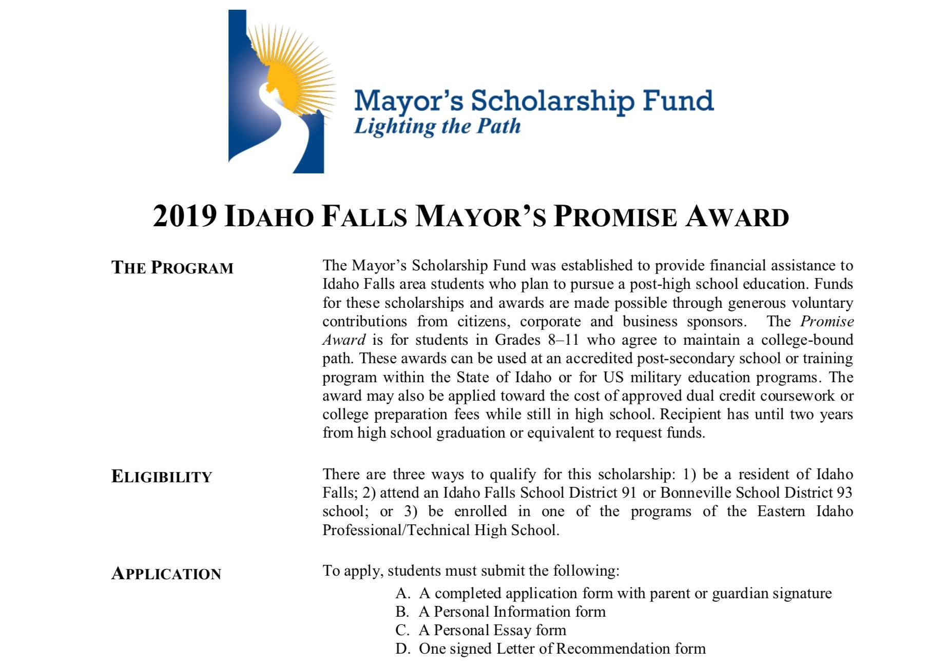 Applications – Mayor's Scholarship Fund